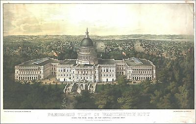 1857 WASHINGTON DC panoramic view history UNITED STATES antique US  CAPITAL 10