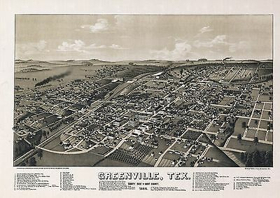 GREENVILLE TEXAS HUNT county TX 1886 old map GENEALOGY poster  12