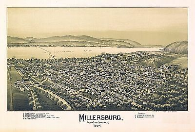 pa103 Antique old map PENNSYLVANIA genealogy family history MILLERSBURG 1894