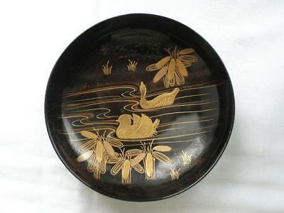 Antique Japanese lacquer chawan with ducks 1900-15 handpainted #4256