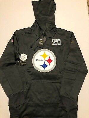 ef82529cd78 Pittsburgh Steelers Nike NFL Men's Crucial Catch Therma Hoodie Size M NWT