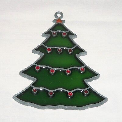 """Vtg 4"""" Stained Glass Style Sun Catcher Tree Christmas Ornament Metal Star Topper"""