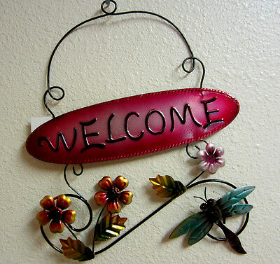 Dragonfly Welcome Sign Metal Metallic Turquoise Colored Yard Art Garden Decor