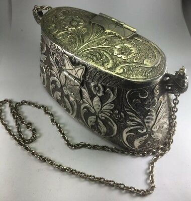 """Antique Victorian French 800 Sterling Silver Cocktail Evening Purse W/ 30"""" Strap"""