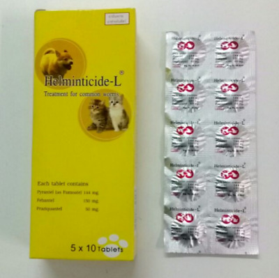 Helminticide-L Treatment for All Wormer Dewormer for Cats,Dogs 50 Tablets.