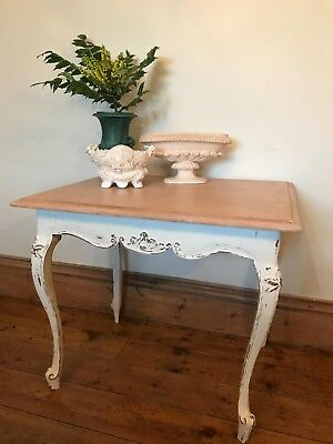 Vintage French Pale Oak & Painted Window table