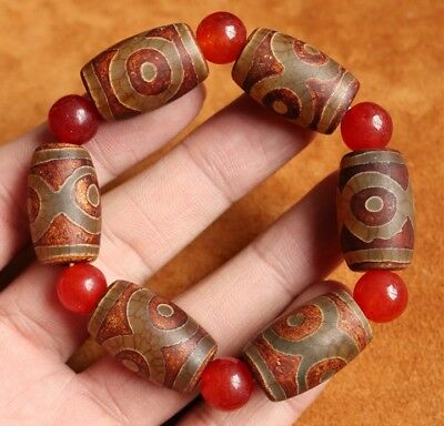 China collection Old Natural Agate/Tibet Amulet 3eye TianZhu Bracelet Antiques
