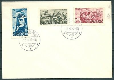 Slovakia 1943 Cover, Set Semi-Postal Stamps Soldiers Welfare -Cag 030918
