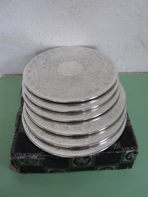 Six Vintage Strachan 20Cm Round  Silverplate Place Mats In Original Carton