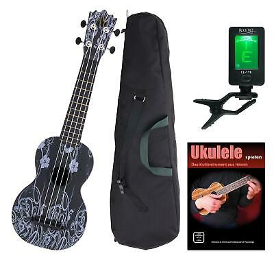 Sopran Ukulele Uke Kinder Hawaii Gitarre Abs Bag Black Beauty Set Tuner Schule