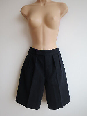Vintage tailored shorts, school shorts, navy blue wool, pleated, pockets, S/M