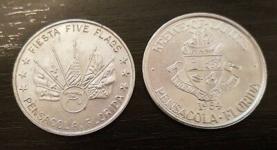 Vintage 1970s Fiesta Five Flags Pensacola FL Doubloon Coin 2 Different