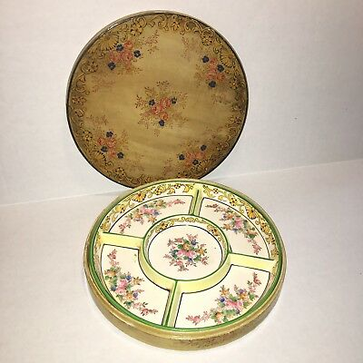 Vintage Japanese Moriyama Mori-Machi Divided Dish with Paper Mache' Box