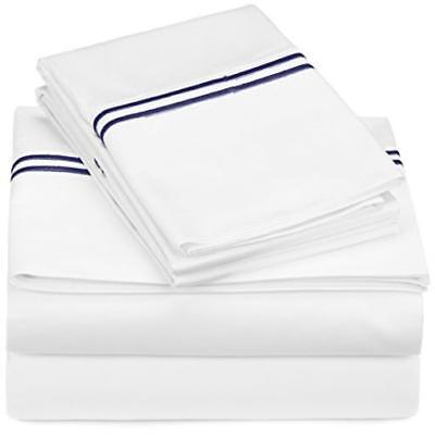 ❤ Bed Sheet Pinzon 400-Thread-Count Egyptian Cotton Sateen Hotel Stitch Set Full