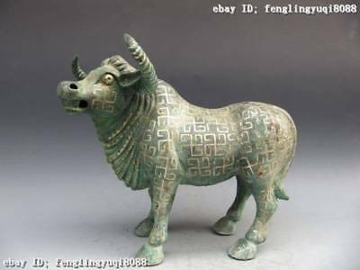 14 Chinese Folk vintage Bronze Copper silver-gilt buffalo carabao Statue