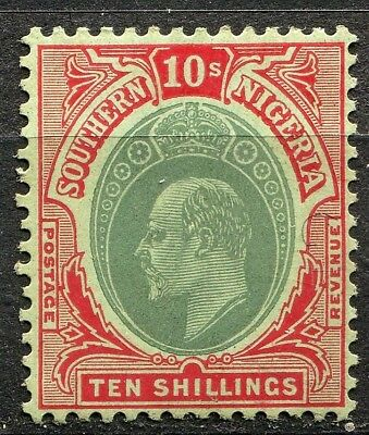 Southern Nigeria 1907 issue, SG 43, 10/- Green & Red, Mint Hinged, CV £100