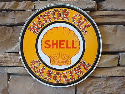"SHELL GASOLINE motor oil 12"" round sign vintage gas & oil pump service station"