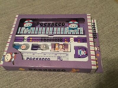 Sanrio Pochacco Set w/ Pencil Case, Pencils, Ruler, Stamps, Eraser, Clip • NEW