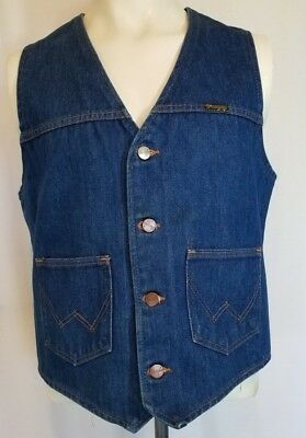 Vintage 1970s Wrangler Jean No Fault Blue Denim Vest Western Boho Made in USA L