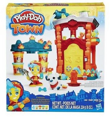 Play-Doh Town Firehouse Fire Station Playset Toy 4 Cans Pack