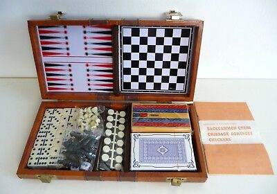 Travel Game Compendium Case Backgammon Chess Cribbage Dominoes Checkers/Draughts