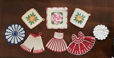 Lot of 8 Vintage Crocheted Potholders: Bloomers, Dress, Round and Square