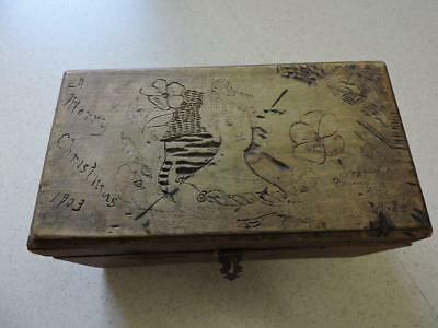 1903 Wooden Christmas Box Carved Woman Man Flowers Antique