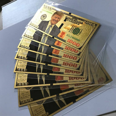 10X US President Donald Trump New Colorized $1000 Dollar Bill Gold Foil Banknote
