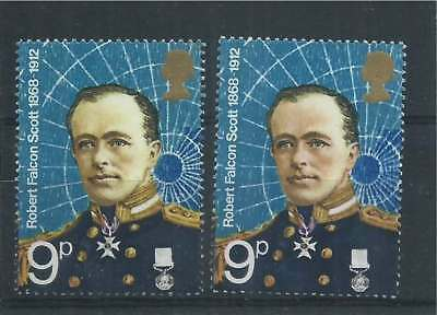 GB 1972 9p Captain Scott with Pale Face Variety + Normal Umounted Mint