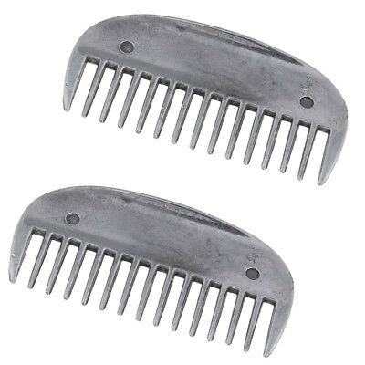 2pcs Equestrian Horse Grooming Curry Comb Stainless Steel Brush Cleaner Tool