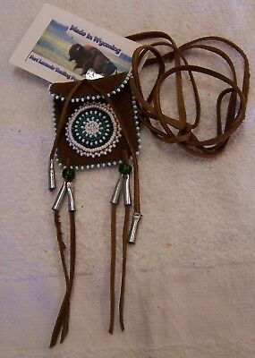 Hand Made Small Beaded Neck Pouch Rendezvous Black Powder Mountain Man 25