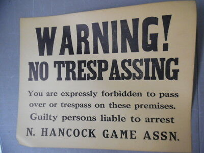 c.1930 Hancock County Illinois Game Association No Trespassing Sign Hunting OLD