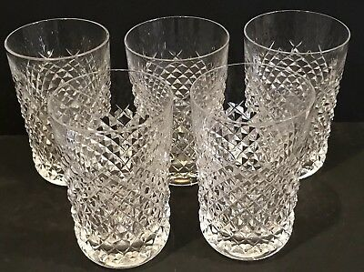 """5 WATERFORD CRYSTAL ALANA 10 OUNCE 4 1/2"""" TUMBLERS Made in IRELAND"""