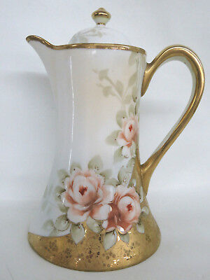 Nippon Hand Painted Peach Roses Chocolate Tea Pot Pitcher 170B