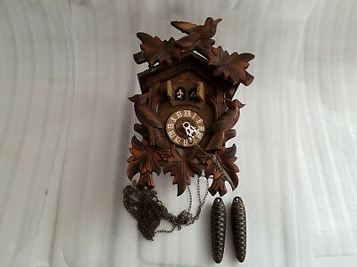 Vintage Carved Wood Cuckoo Clock Regula W. Germany Black Forest Lador Swiss