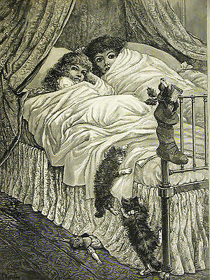 T. Haliday HERE COMES SANTA CLAUS Christmas Children Doll Cats 1891 Art Matted