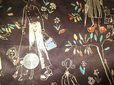 GROOVY Vintage WOMEN WALKING DOGS FLOWERS On BROWN 1970's POLYESTER Fabric-2 yd
