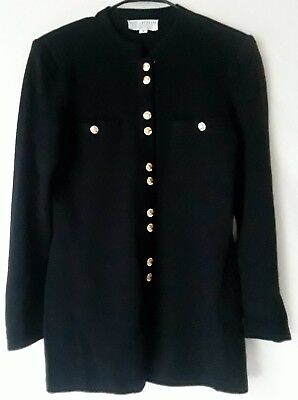 Stunning! ST JOHN COLLECTION KNIT By Marie Gray Black JACKET Cardigan Blazer S