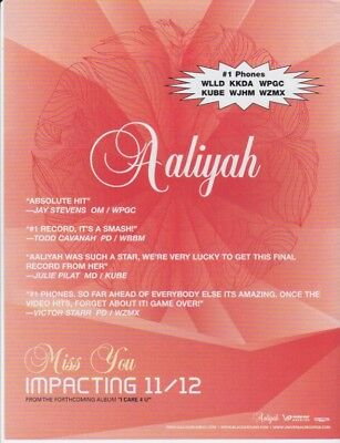 Aaliyah Original Magazine Advertisement Rare! Miss You