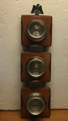 Vintage Springfield Weather Station Thermometer Barometer Humidity Eagle Finial