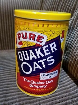 Vintage 1984 Quaker Oats Tin Canister W/ Original Recipes Oatmeal Can Limited Ed