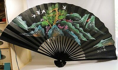 "VTG 70"" Chinese Fujian Hand Painted Wall Fan Huts Hills Cranes On Black AS IS"