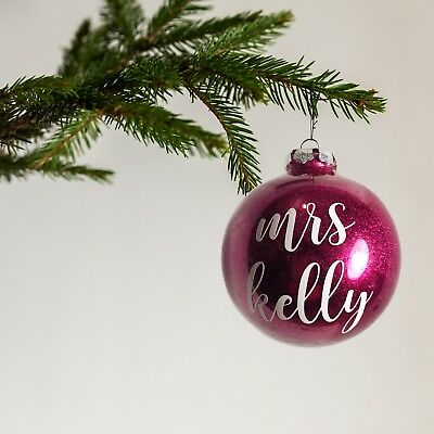 Personalised mrs name glitter bauble - christmas ornament wife gift any colour!