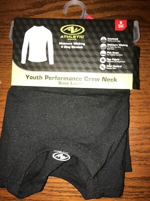 NWT Athletic Works Youth Crew Neck Small 6-7 Black Long Sleeve Warm Baselayer