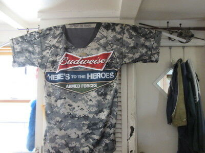 (New) Budweiser Beer All Us Military Banner Jersey Giant Size Bar Pub Sign