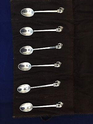 Lot of 6 Sterling Silver Elephant Demitasse Spoons Siam Thailand