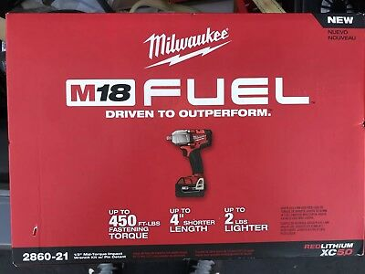 Milwaukee 2860-21 M18 Fuel Mid-Torque Impact Wrench Kit Pin Detent+Bag New