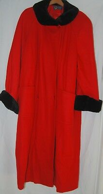 Vintage GHM Womens Cherry Red Wool Trench Coat Black Faux Fur Cuffs Collar XL