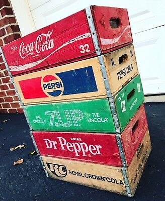 5 Vintage Wood Soda Pop Crates Lot Dr Pepper Pepsi Coke 7up RC Cola
