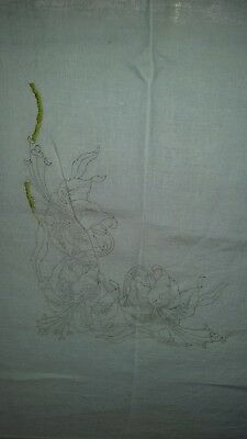 "100% Pure Linen Table/Tray Cloth 48"" Square to Embroider. Lilly Pattern."